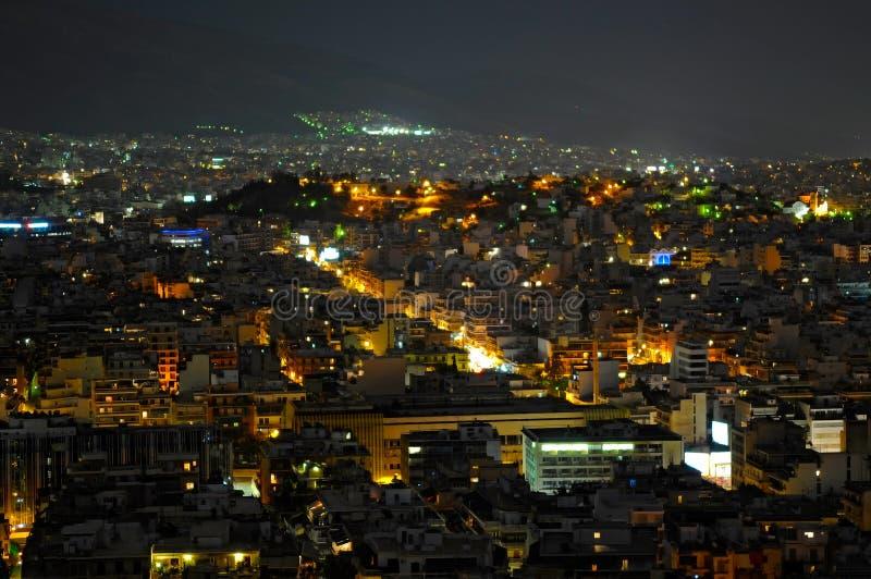 Night view of Athens stock photos