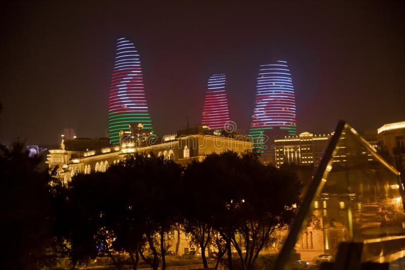 Night view of Baku with skyscrapers of the Flame Towers . It is the tallest skyscraper in Baku, Azerbaijan with a height royalty free stock images