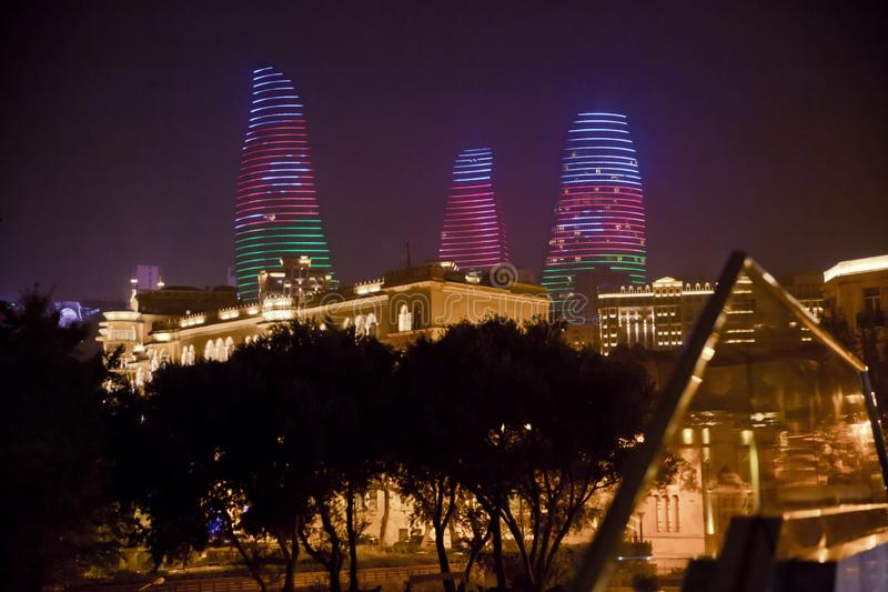 Night view of Baku with skyscrapers of the Flame Towers . It is the tallest skyscraper in Baku, Azerbaijan with a height stock image