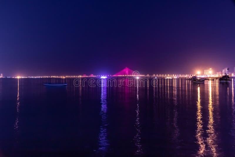 Night View of Bandra Worli Sea Link Bridge, Mumbai, India. This is a scenic constraction. The Bandra Worli Sea Link is a cable-stayed bridge in South Mumbai in stock images