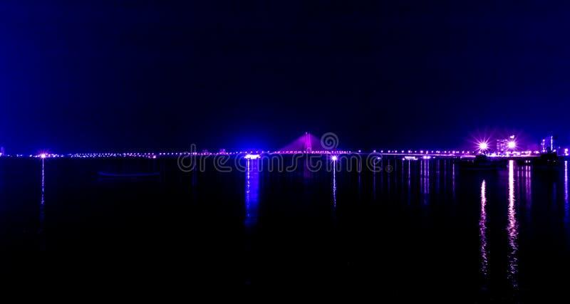 Night View of Bandra Worli Sea Link Bridge, Mumbai, India. This is a scenic constraction. The Bandra Worli Sea Link is a cable-stayed bridge in South Mumbai in royalty free stock photography