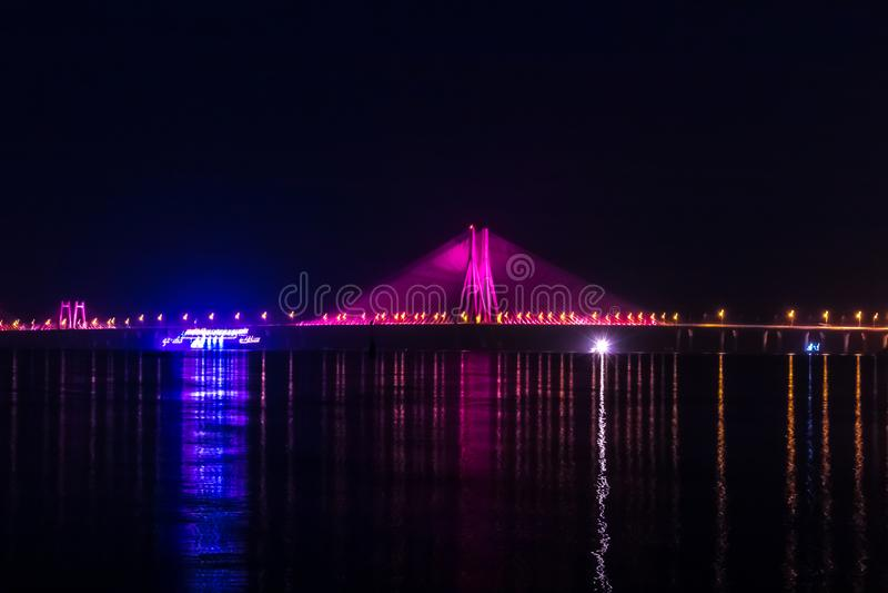 Night View of Bandra Worli Sea Link Bridge, Mumbai, India. This is a scenic constraction. The Bandra Worli Sea Link is a cable-stayed bridge in South Mumbai in stock photo