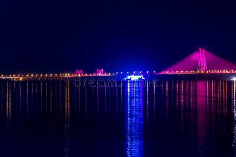 Night View of Bandra Worli Sea Link Bridge, Mumbai, India. This is a scenic constraction. The Bandra Worli Sea Link is a cable-stayed bridge in South Mumbai in royalty free stock photos