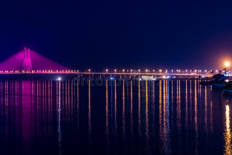 Night View of Bandra Worli Sea Link Bridge, Mumbai, India. This is a scenic constraction. The Bandra Worli Sea Link is a cable-stayed bridge in South Mumbai in stock image