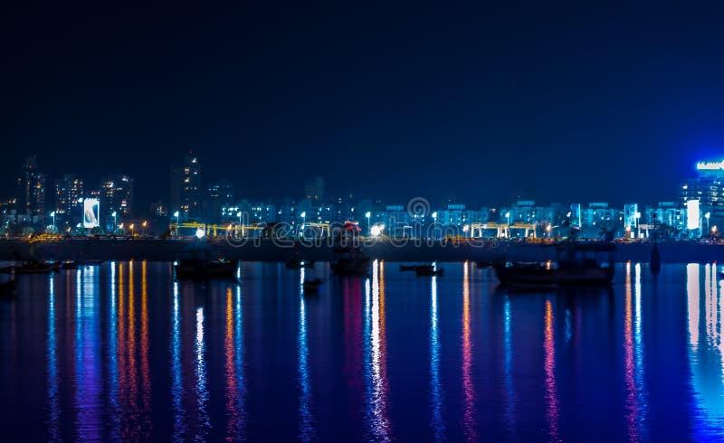 Night View of Bandra Worli Sea Link Bridge, Mumbai, India. This is a scenic constraction. The Bandra Worli Sea Link is a cable-stayed bridge in South Mumbai in stock photography