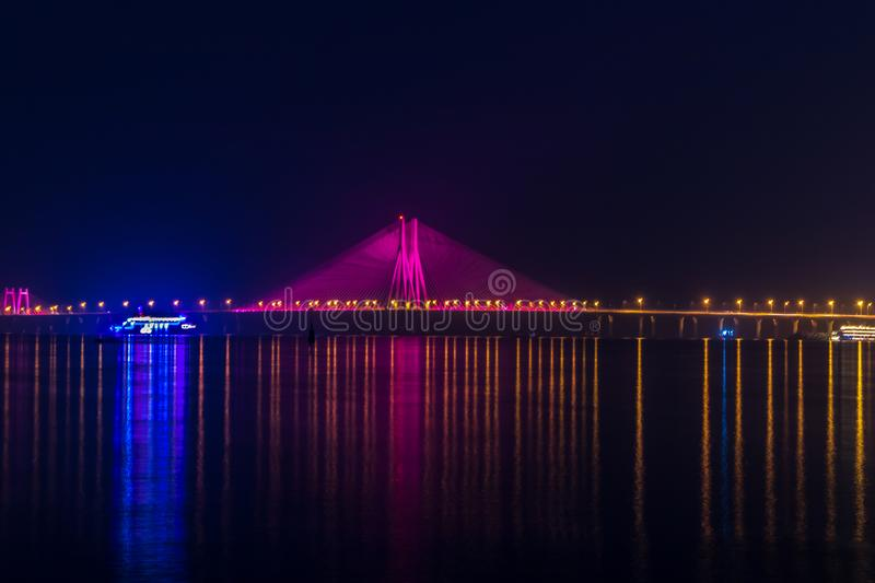 Night View of Bandra Worli Sea Link Bridge, Mumbai, India. This is a scenic constraction. The Bandra Worli Sea Link is a cable-stayed bridge in South Mumbai in royalty free stock images