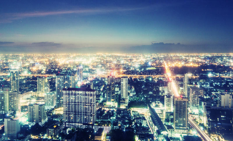 Night view of Bangkok stock images