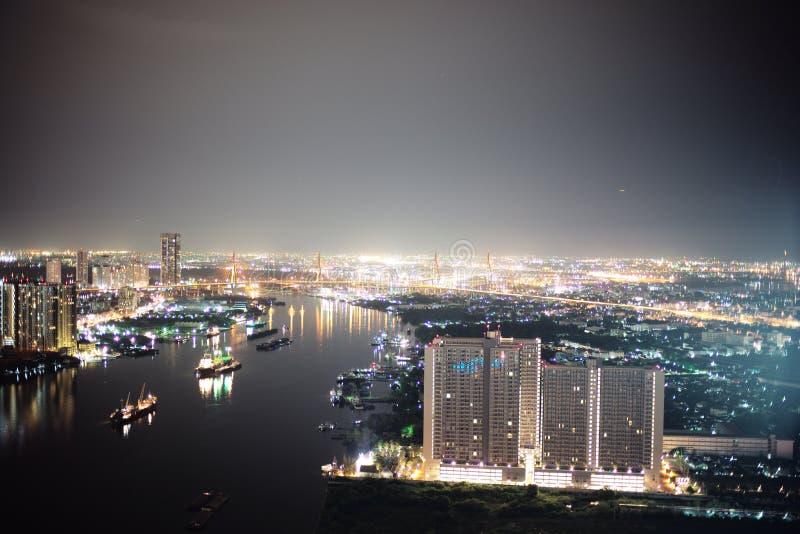 Night view in Bangkok. Nightshot of Chao Praya river in Bangkok royalty free stock photo