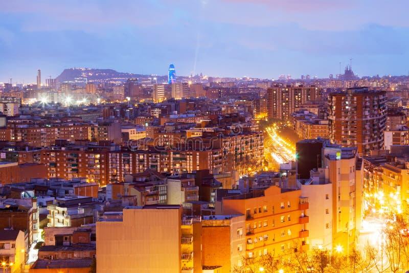 Night view of Barcelona from Badalona municipality royalty free stock photo
