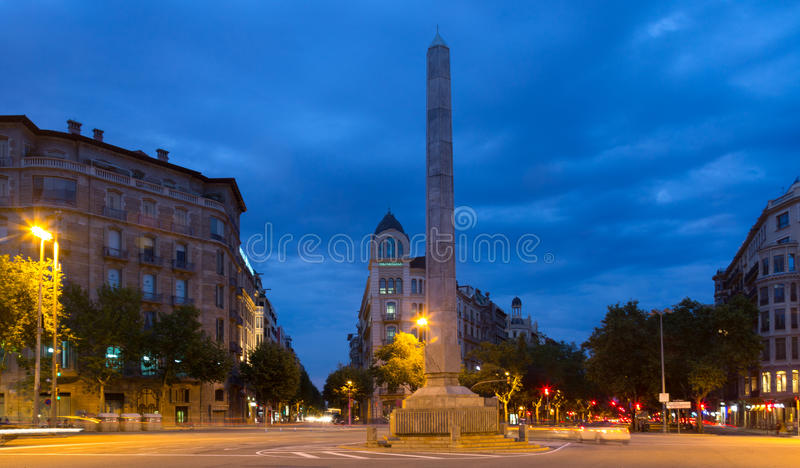 Night view of Barcelona stock images