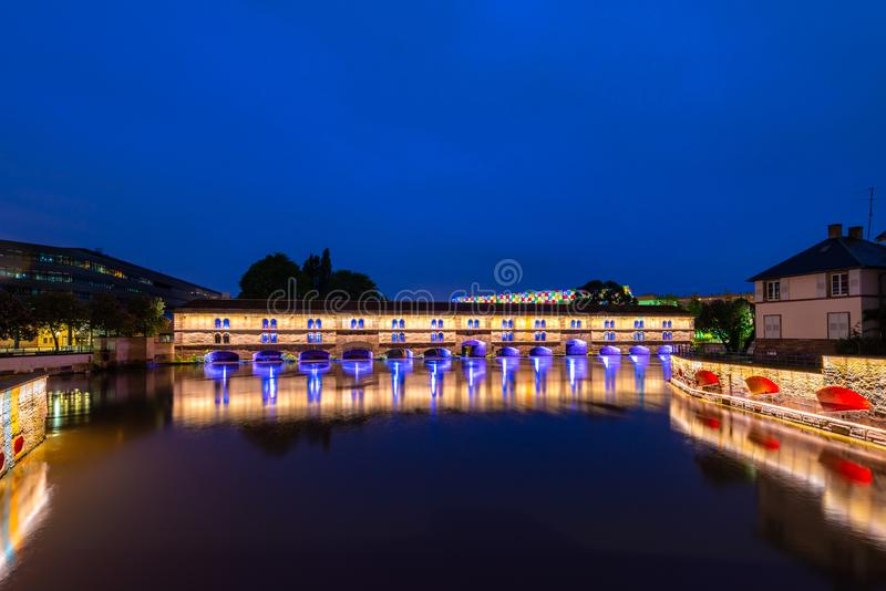 Night view of  Barrage Vauban in Strasbourg, France.  royalty free stock photography