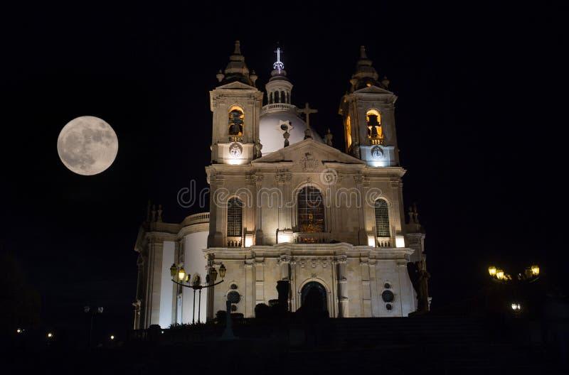 Sameiro Braga. Night view of Basilic of Sameiro Braga, in the north of Portugal, with the november super moon stock photos
