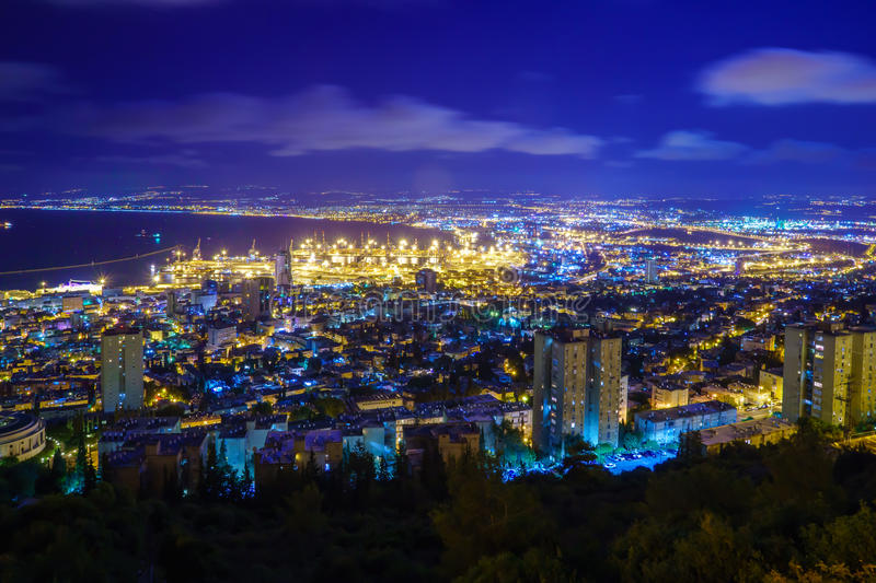 Night view of the bay of Haifa and the harbor. Northern Israel royalty free stock images