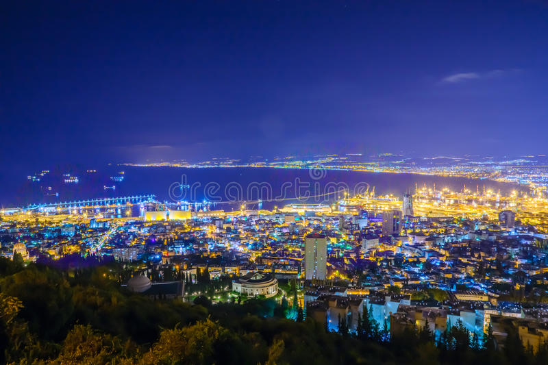Night view of the bay of Haifa and the harbor. Northern Israel royalty free stock photos