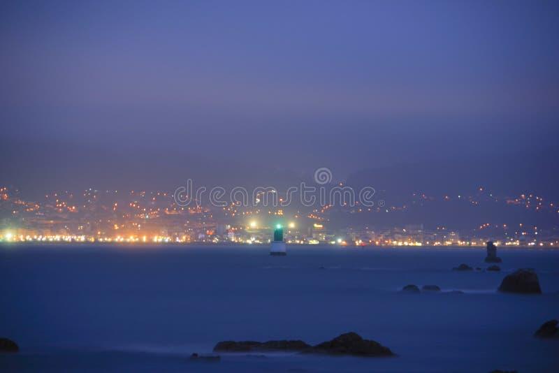 Night view of the beacon in Ria de Vigo, Vigo, Galicia, Spain. Europe stock image