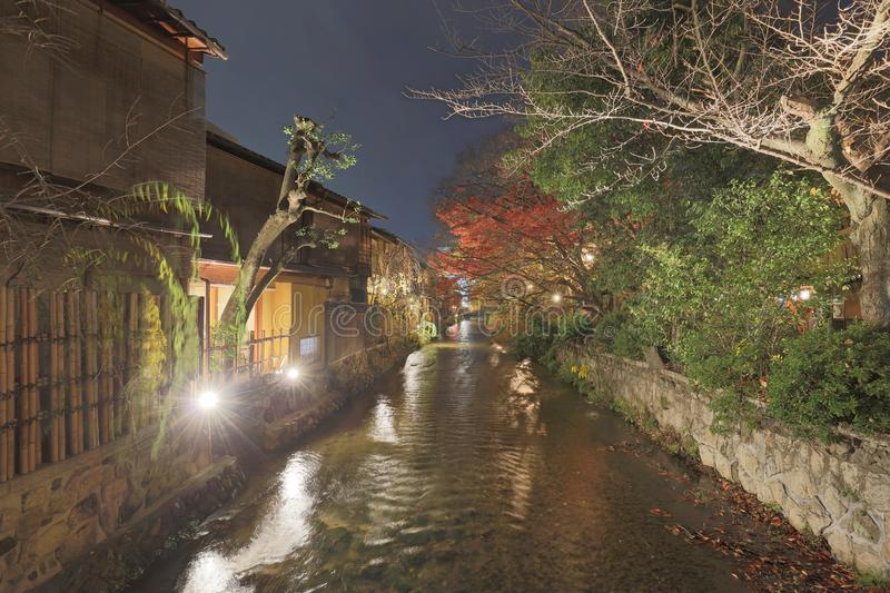 Night view of beautiful Gion district, Kyoto, Japan. Night view of the Gion district, Kyoto, Japan stock photos