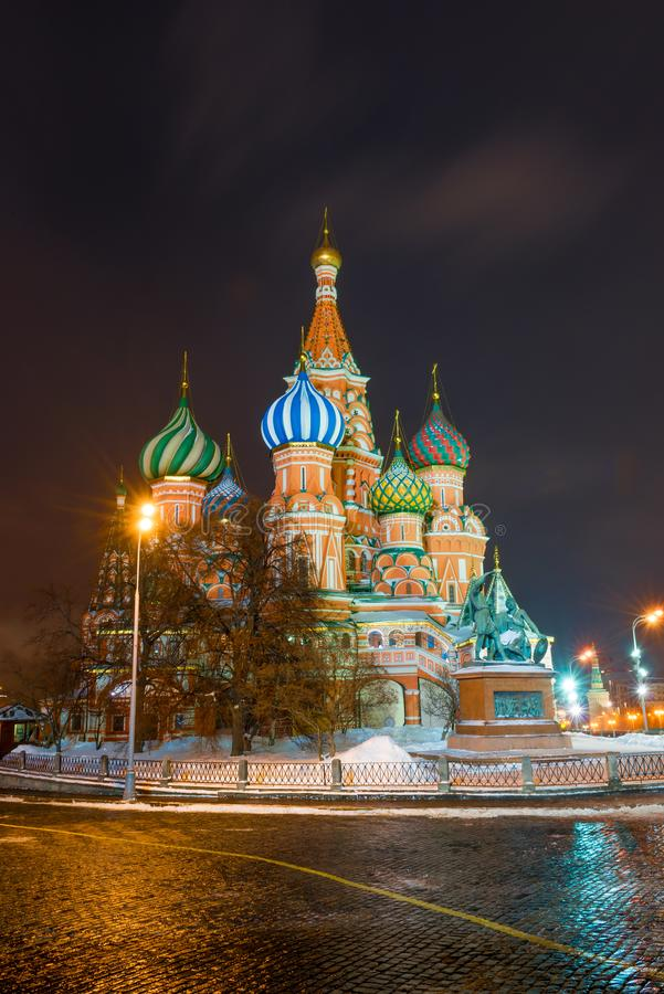 Night view of the beautiful St. Basil`s Cathedral on Red Square stock image