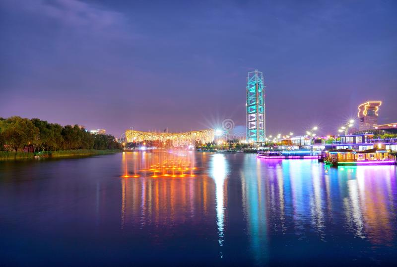 Night View of National Stadium and Olympic Park Multi-Function Broadcasting Tower in Beijing China. This night view includes National Stadium, Olympic Park Multi royalty free stock images