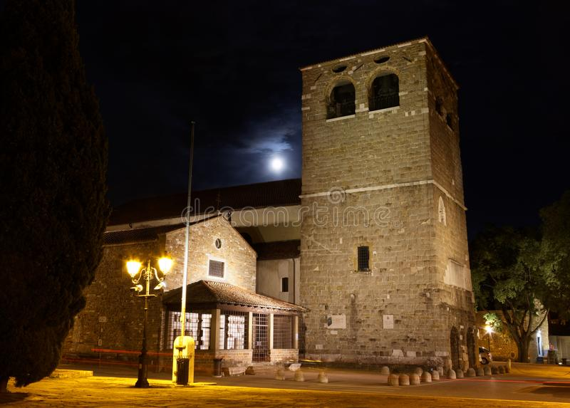 San Giusto Cathedral in Trieste at Night. Night view of the belfry of the cathedral of San Giusto in Trieste, Italy royalty free stock images