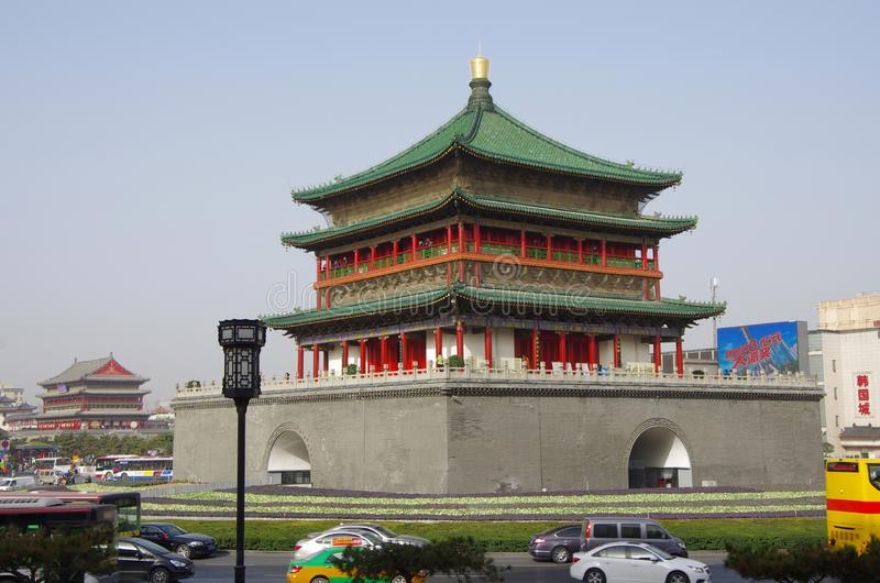 Xi `an bell tower and drum tower royalty free stock photos