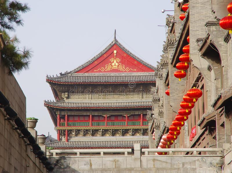 Xi `an bell tower and drum tower stock photography