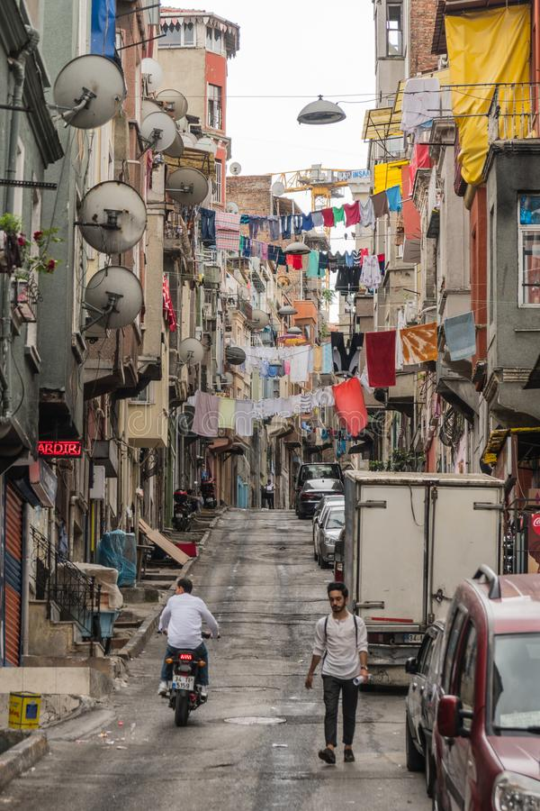 Night view of Beyoglu district. Turkey, Istanbul, June 2018 - One of the streets in Beyoglu district at day time stock images