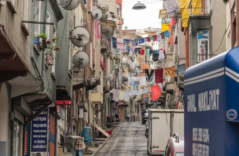 Night view of Beyoglu district. Turkey, Istanbul, June 2018 - One of the streets in Beyoglu district at day time royalty free stock images