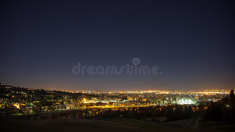 Night view from Bologna stock image