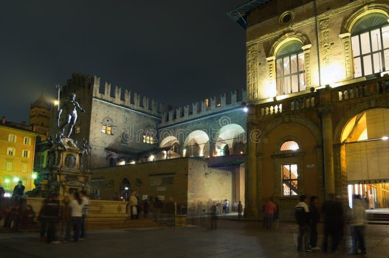 Night view, Bologna, Italy stock photo