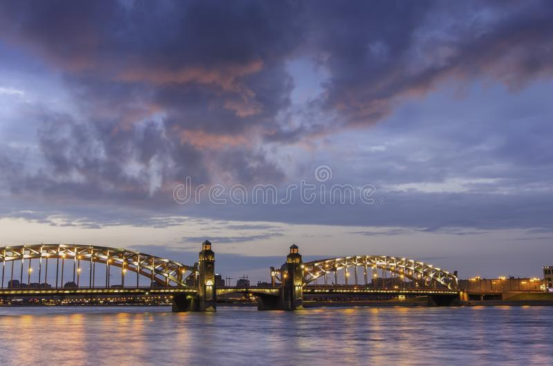 Night view of the Bolsheokhtinsky Bridge Peter the Great`s bridge in St. Petersburg, Russia royalty free stock photography