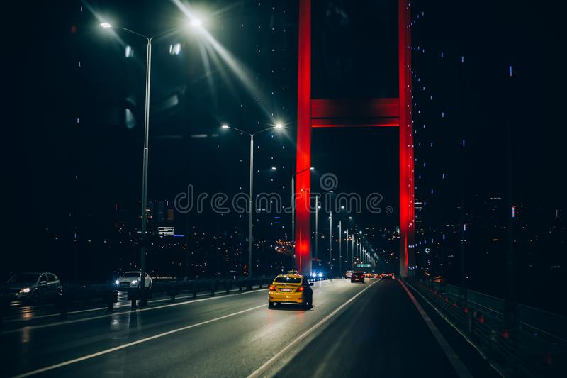 The night view of Bosphorus Bridge, Fatih Sultan Mehmet, Istanbul royalty free stock photos
