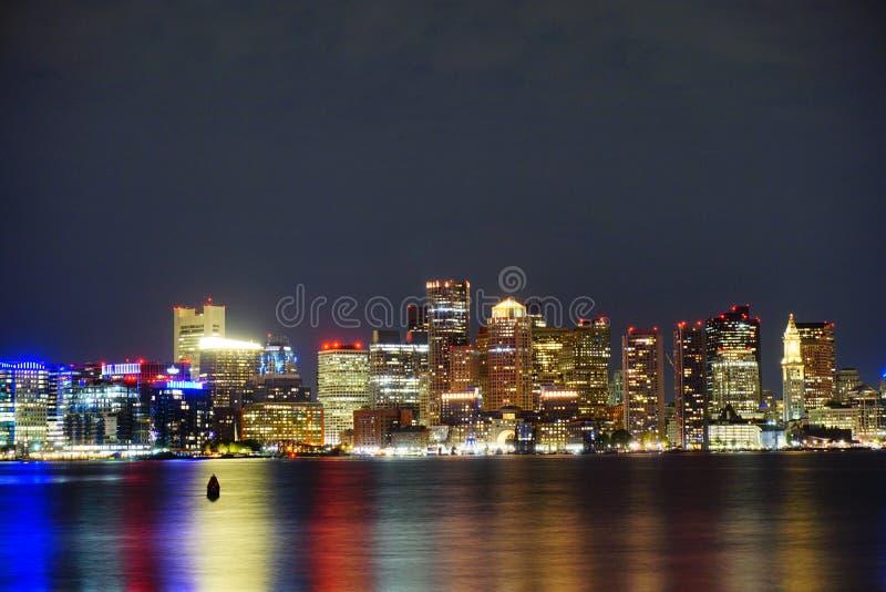 Night view of Boston. Downtown stock image