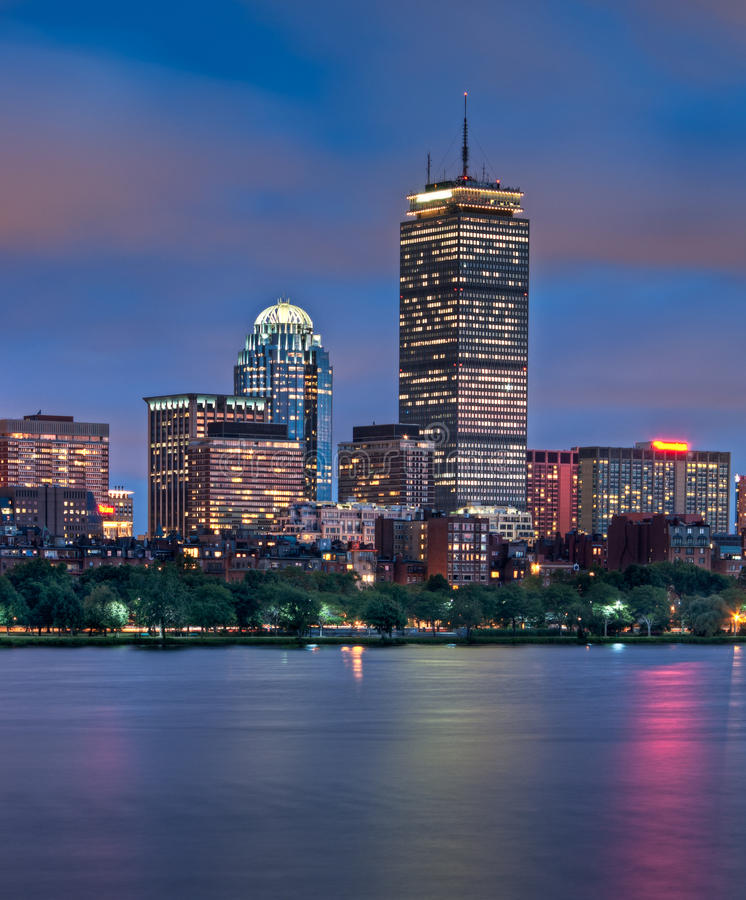 Night View of Boston's Copley Square. Night view of the Boston Skyline with brightly illuminated buildings stock images