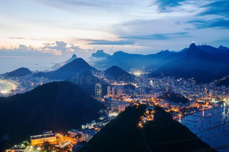 Night view of Botafogo and Corcovado in Rio de Janeiro royalty free stock image