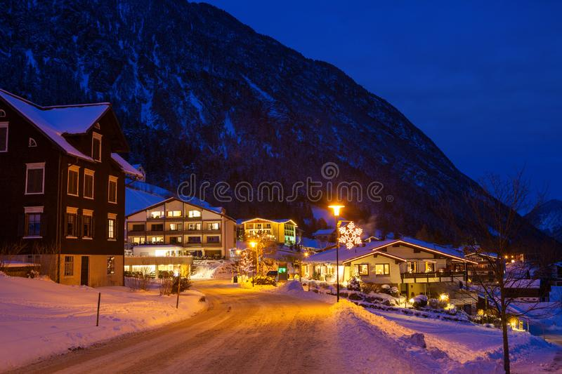 Night view of the Brand Austrian ski resort, Bludenz, Vorarlberg, Austria.  stock images