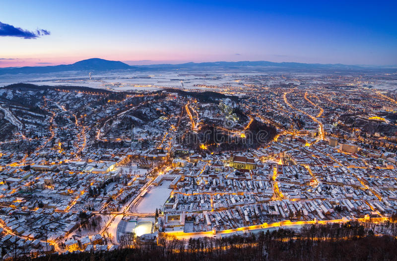 Night view of Brasov royalty free stock photography