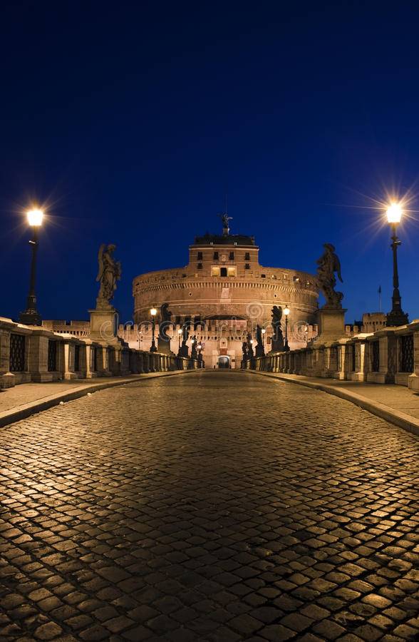 Download Night View Of The Bridge In Front Of Castel St. An Stock Photo - Image: 32394578