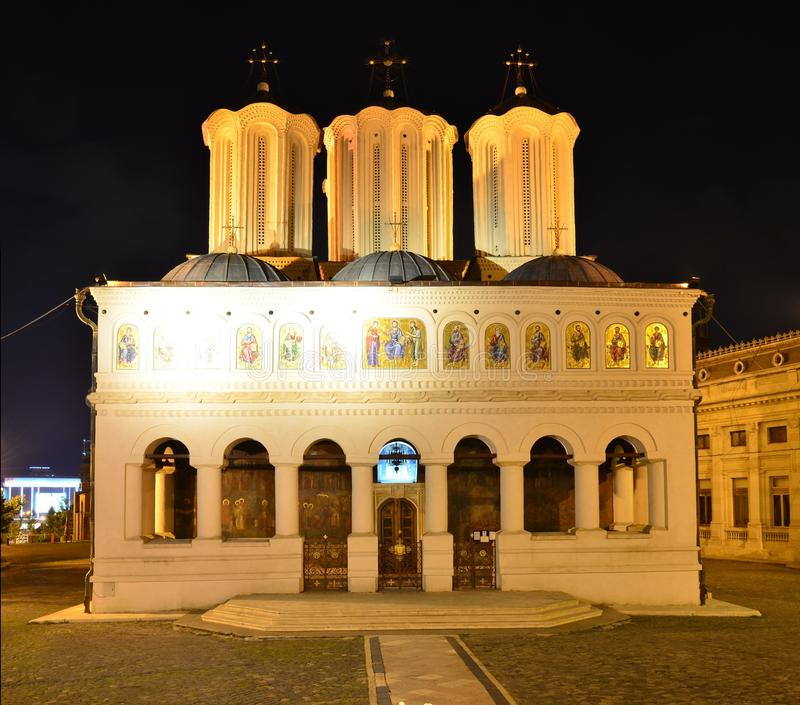 Night view of the Bucharest metropolitan church stock images