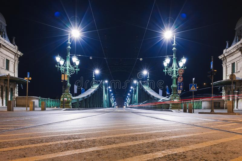 Night view of Budapest. Cityscape of famous tourist destination with Danube and bridges. Travel illuminated landscape in Hungary, royalty free stock photos