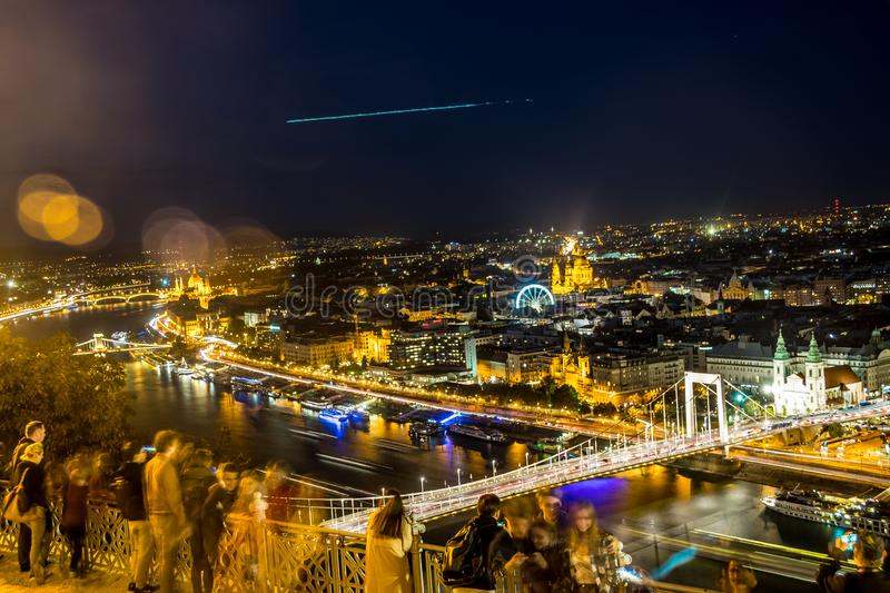 Night view of Budapest from Gellert Hill stock images