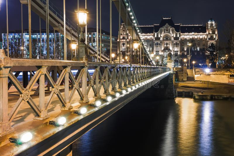 Night view of Budapest. Panorama cityscape of famous tourist destination with Danube and bridges. Travel illuminated landscape in royalty free stock photos