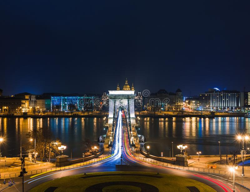 Night view of Budapest. Panorama cityscape of famous tourist destination with Danube and bridges. Travel illuminated landscape in stock image