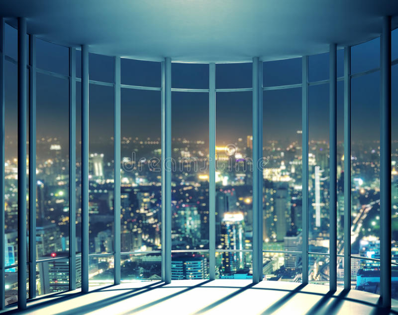 Night View Of Buildings From High Rise Window Stock Image