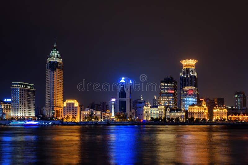 Night view of Bund skyline Waitan from Pudong side, Shanghai stock photos