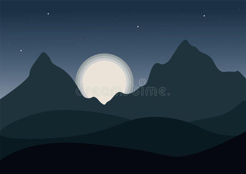 Night view of a cartoon mountain landscape with wavy hills under night blue-gray sky with shining moon with stars. Vector vector illustration
