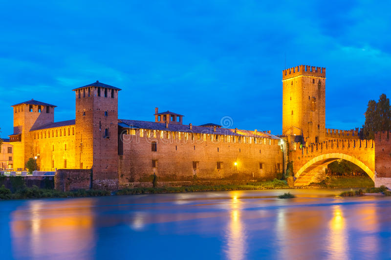 Night view of Castelvecchio in Verona, Italy. stock photography