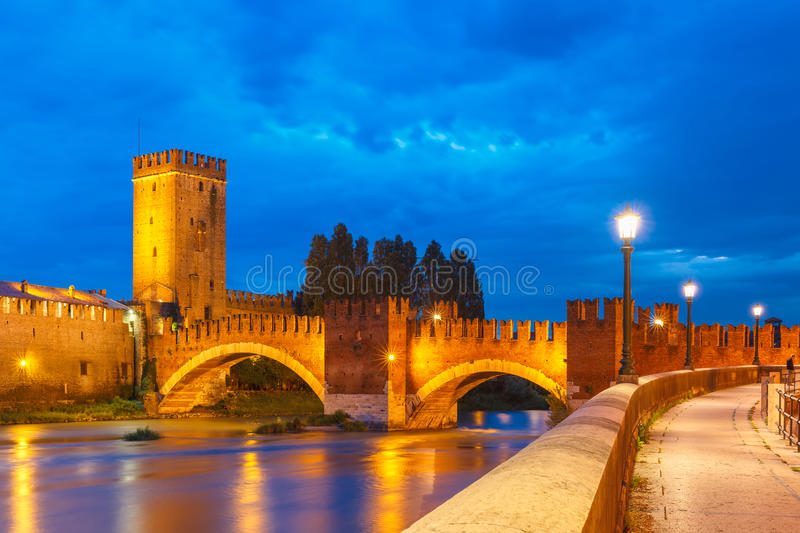 Night view of Castelvecchio in Verona, Italy. stock images
