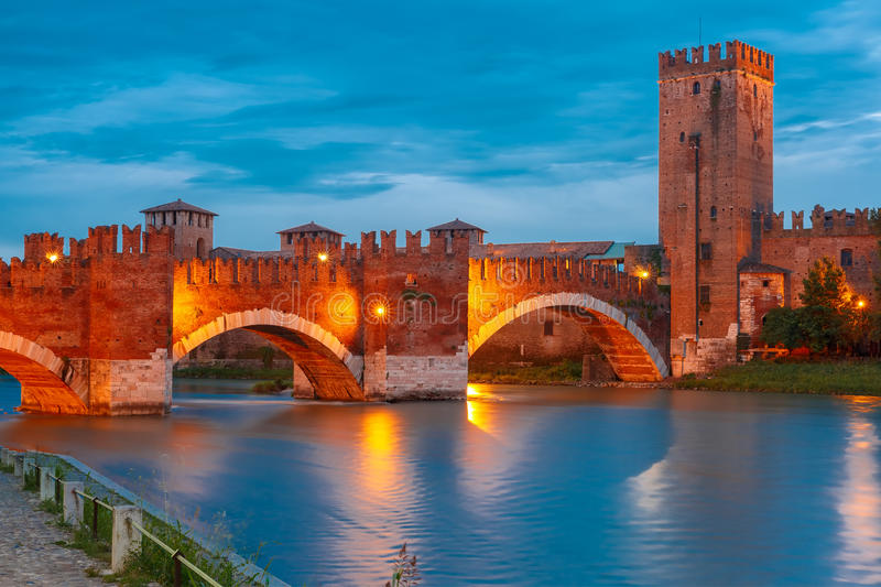 Night view of Castelvecchio in Verona, Italy. royalty free stock photography