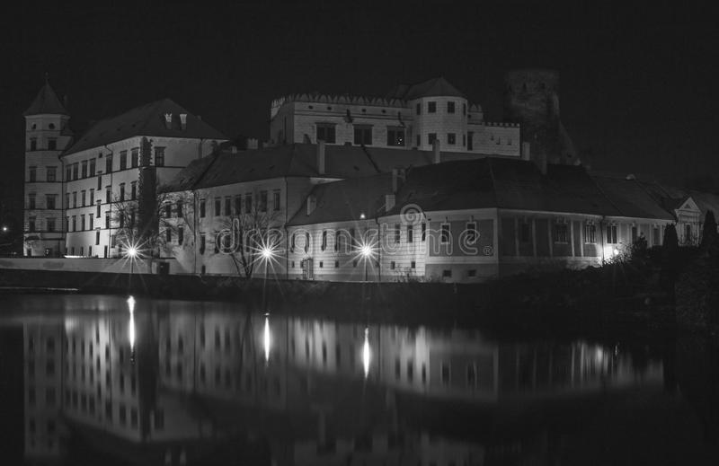 Night view of castle in Jindrichuv Hradec, Czech republic.  royalty free stock image