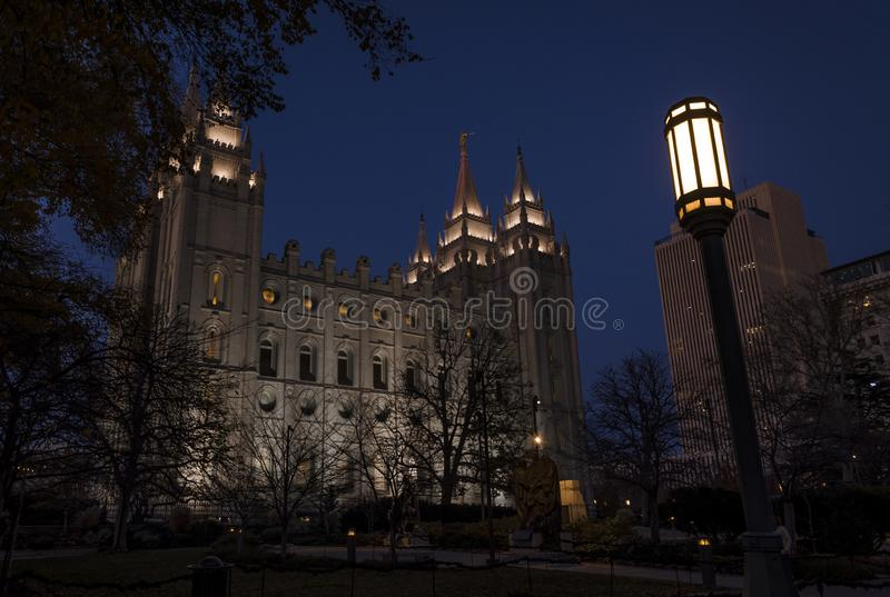 The cathedral of the saint of latter days at night. Night view of the cathedral of mormons in salt lake city. Utath, United states stock images